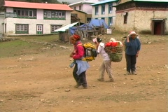 Three female porters Stock Footage