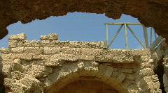 Caesarea arch building tilt Stock Footage