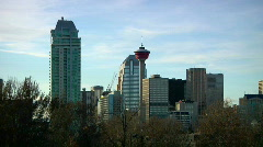 Calgary Tower in big City skyline against big blue Sky Stock Footage