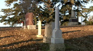 Gothic Horror Graveyard Scene in Fading Autumn Sunset (zoom out) Stock Footage