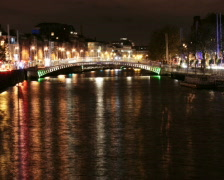 Dublin, Ireland, Liffey river scenery Stock Footage