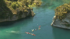 Group of canoeists on river Stock Footage