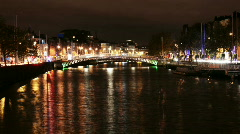 Liffey river scenery, Dublin, Ireland Stock Footage