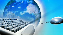 Keyboard and a mouse with the Earth. Concept of global network - stock footage