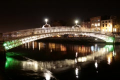 Ha'penny bridge, Dublin, Ireland - stock footage