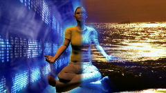 Digital human in buddha position. Stock Footage