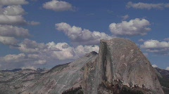 Time lapse of clouds moving over Half Dome in Yosemite Stock Footage