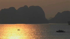 A beautiful sunset over the Ha Long Bay in Vietnam. Stock Footage