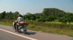 A Vietnamese farmer takes his pig to market on the back of Stock Footage