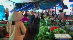 Interior of a Vietnamese open market. - stock footage