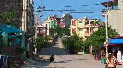 An establishing shot of a Vietnamese town. Stock Footage
