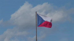 The flag of the Czech Republic flies in the breeze. - stock footage