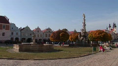 A central square in a quaint town in the Czech Republic. Stock Footage