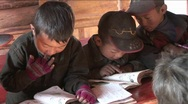 Stock Video Footage of Chinese children study hard at a rural school.