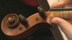 Violin in focus with music Stock Footage