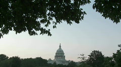 A very wide shot of the Capitol Building in DC at dusk. Stock Footage