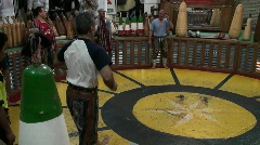A man spinning in a circle demonstrates the traditional Stock Footage