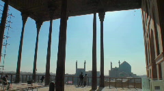 Looking out on Naqsh-e Jahan Square in Isfahan, Iran from Stock Footage