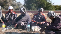 Men wearing the traditional muslim headdress, or keffiyeh, Stock Footage