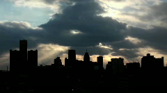 Buildings on a cloudy evening in Detroit, Michigan. - stock footage