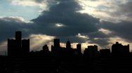 Buildings on a cloudy evening in Detroit, Michigan. Stock Footage