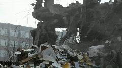 An excavator removes debris. Stock Footage
