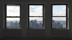 A view outside of windows of the Empire State Building in New York City, New Stock Footage