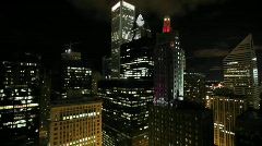 View over a city at night Stock Footage