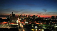 Stock Video Footage of Time lapse late evening view of Detroit, Michigan.