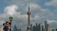 Stock Video Footage of People passing through the Pudong district in Shanghai.
