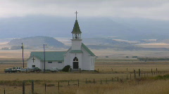 A small church stands on a Montana prairie. - stock footage