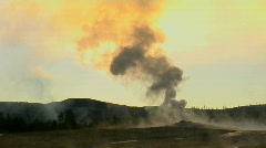 Steam issues from Old Faithful at Yellowstone National Park. Stock Footage
