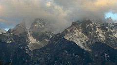Clouds move across the Grand Teton mountain range. Stock Footage