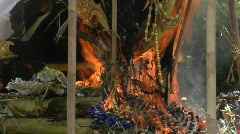 A Brahma Bull burns during a Balinese cremation ceremony. - stock footage