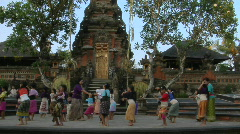 Girls practice the legong dance at a Balinese dance school. Stock Footage