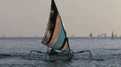 A catamaran-style fishing boat moves into shore. Stock Footage