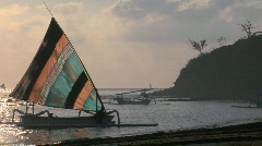 A catamaran-style fishing boat  comes into shore. Stock Footage