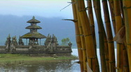 Stock Video Footage of Bamboo drips with dew at the Ulun Danu temple on Lake Bratan, Bali.