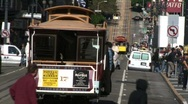 Stock Video Footage of SF cablecars,bustle day