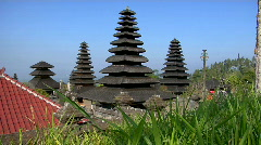 Trees surrounds buildings of the Besakih Temple complex in Bali. Stock Footage