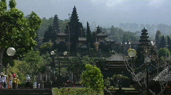 Visitors approach a Balinese temple complex. Stock Footage