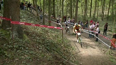 Bicyclists race in a competition. Stock Footage