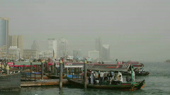 Boats come and go in this time lapse shot at the harbor in Dubai. Stock Footage