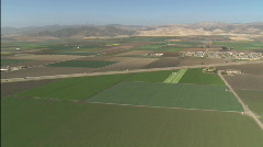 Helicopter aerial of farmland in the Salinas Valley, California. Stock Footage