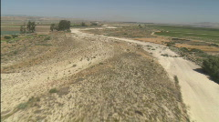 A low level helicopter aerial of the Rio Seco River in the Stock Footage