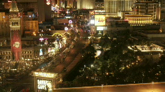Traffic moves along a Las Vegas street at night. Stock Footage