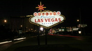 """Stock Video Footage of The famous """"Welcome to Fabulous Las Vegas"""" sign lights up"""