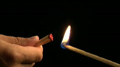 One stick-match lights a group of matches and then they are blown out. Stock Footage