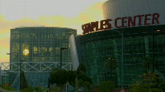 The sun shines through the glass windows of Staples Center, Los Angeles. Stock Footage