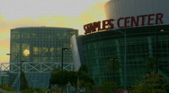 Stock Video Footage of Traffic drives past the Los Angeles Convention Center and